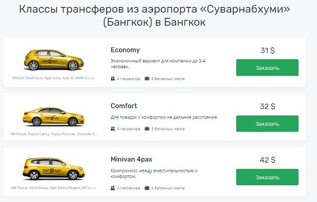 Цены такси из аэропорта Бангкока
