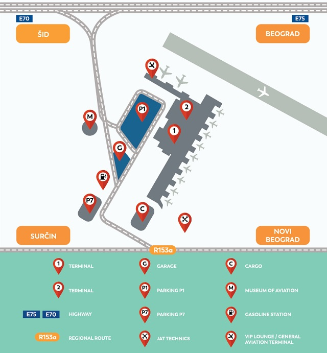 Схема аэропорта Белград Никола Тесла