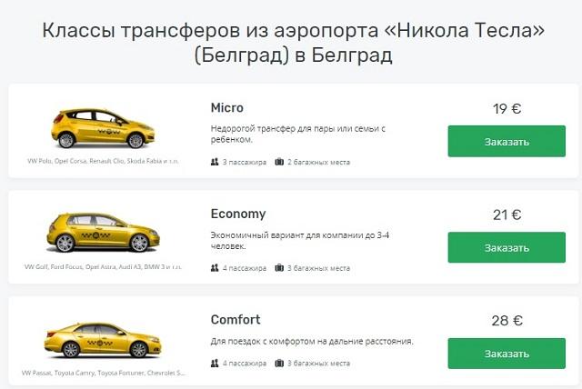 Цены на такси из аэропорта Белграда