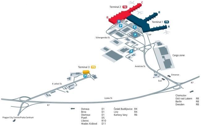 Схема аэропорта Прага