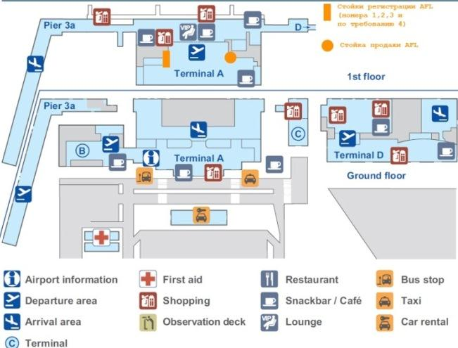 Схема аэропорта Шенефельд в Берлине