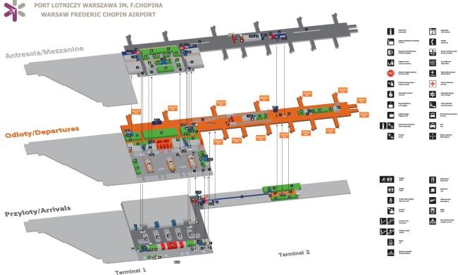 Схема аэропорта Фредерика Шопена