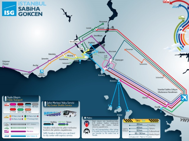 Схема автобусных маршрутов из аэропорта Сабиха Гекчен до Стамбула