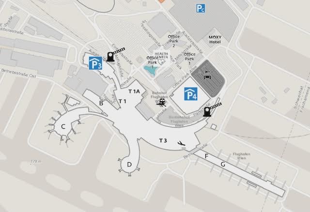 Схема терминалов аэропорта Вена