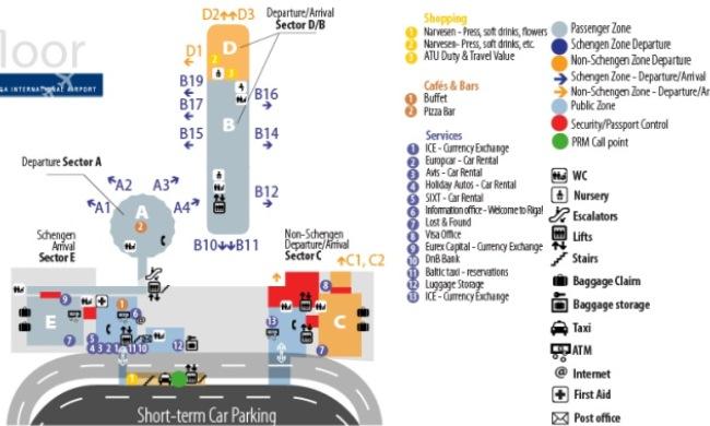 Схема аэропорта Рига 1-й этаж