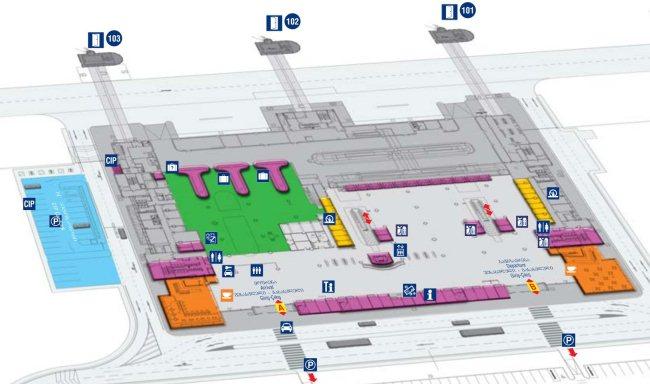 Схема первого этажа аэропорта Тбилиси