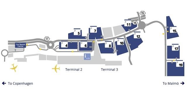 Схема остановок автобусов в аэропорту Копенгагена