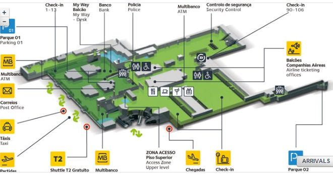 Схема терминала №1 аэропорта Лиссабона