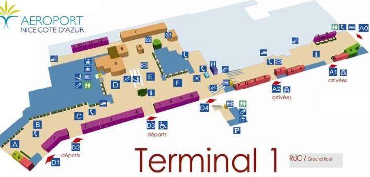 Схема аэропорта Ниццы терминал №1