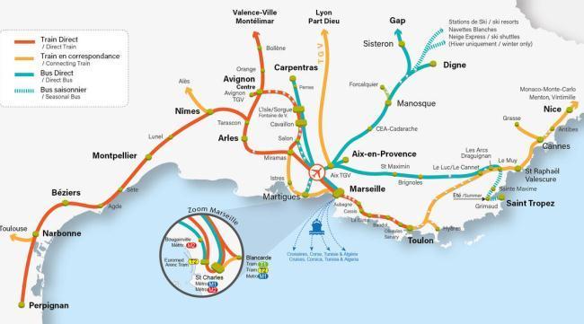 карта автобусного и ж/д сообщения из аэропорта