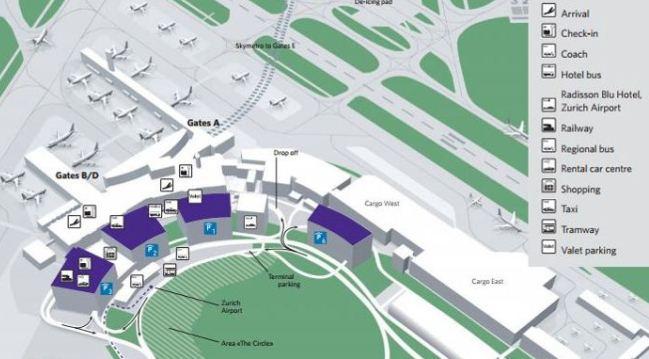 Схема аэропорта Цюриха