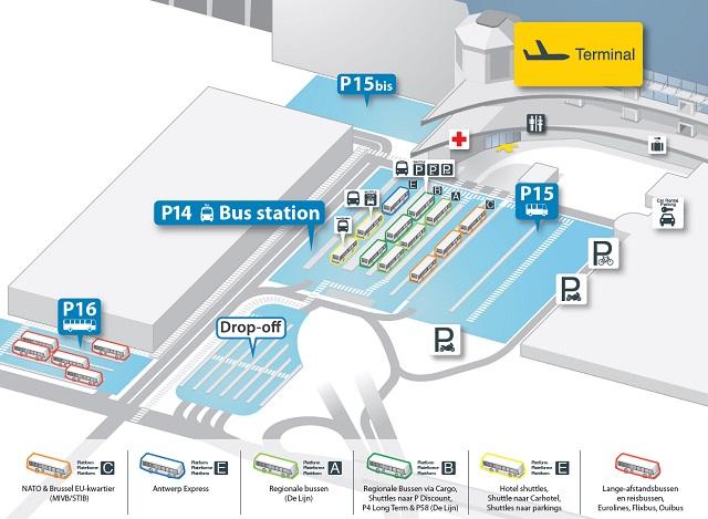 Остановки автобусов в аэропорту Брюссель
