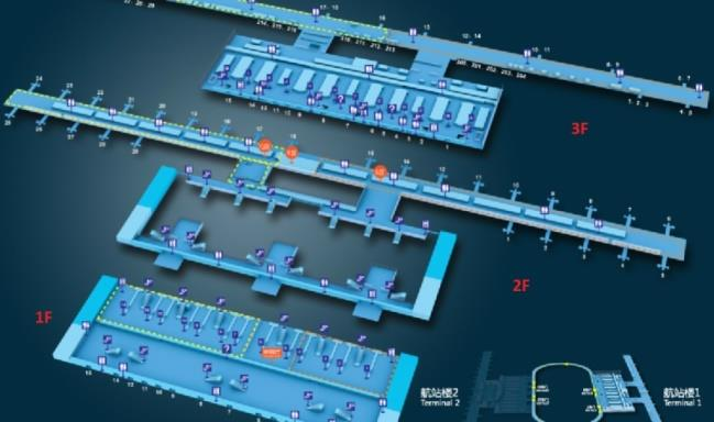 Схема Терминала 1 аэропорта Шанхая Пудун