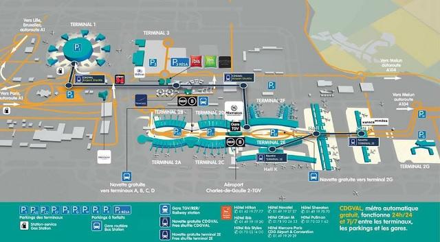 Схема аэропорта Шарль де Голль, Париж