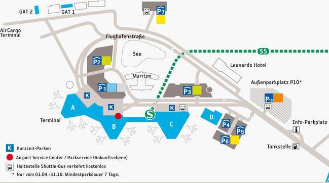Схема терминалов аэропорта Ганновера