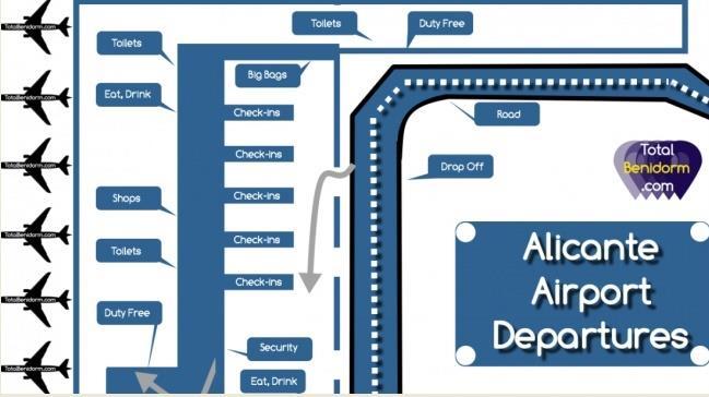 Схема аэропорта Аликанте в Испании