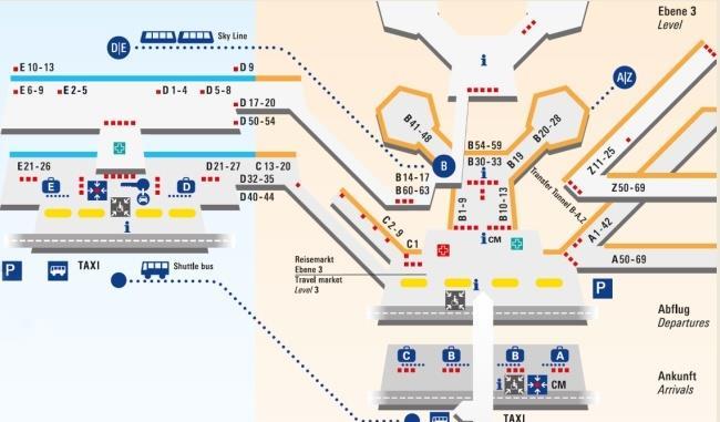Схема аэропорта Франкфурта-на-Майне