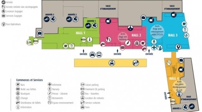 Схема 1-й этаж аэропорт Нант Атлантик