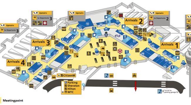 Схема зоны прибытия аэропорта Схипхол