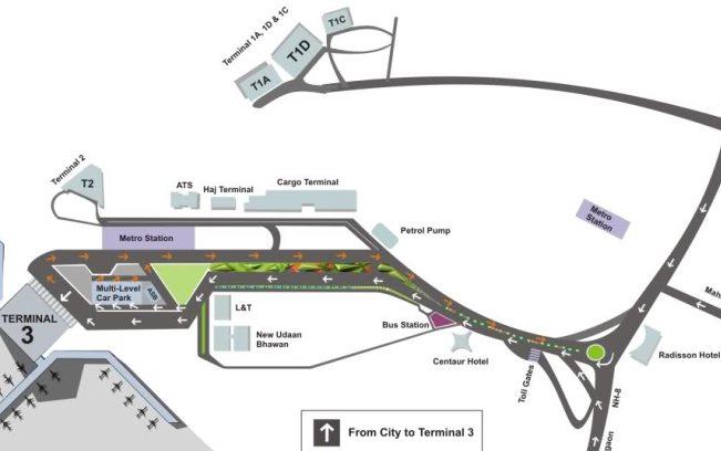 Схема Делийского аэропорта имени Индиры Ганди в Индии