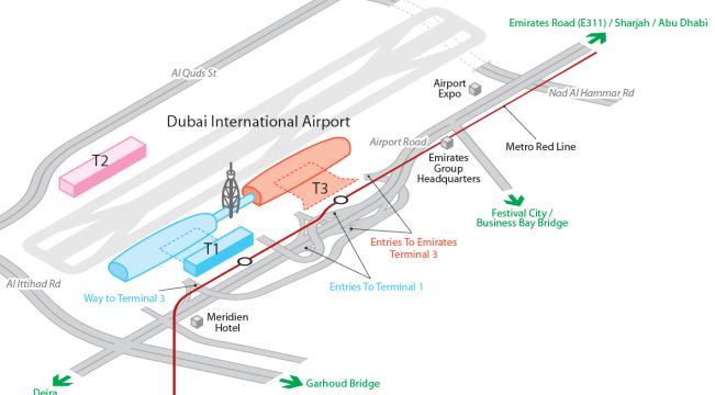 Схема терминалов аэропорта Дубай