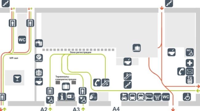 Схема аэропорта Толмачево (1 этаж)