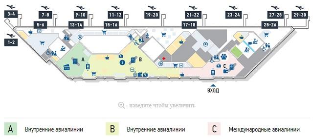 Схема зала вылета аэропорта Сочи-Адлер