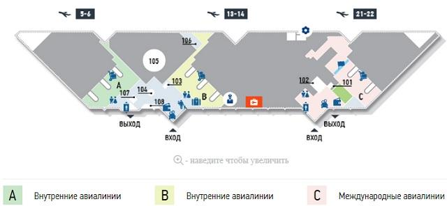 Схема зала прилета аэропорта Сочи-Адлер