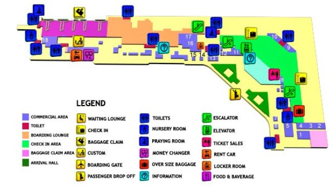 Схема аэропорта Денпасар (1-й этаж)