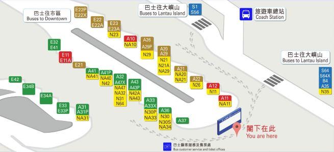 Схема остановок автобусных маршрутов на автостанции в аэропорту
