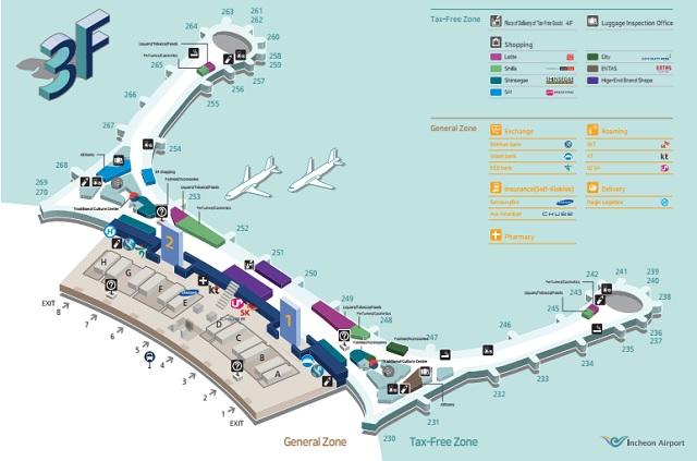 Схема Терминала Т2 Зона вылета аэропорта Инчхон Сеул