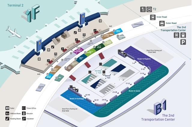 Схема терминала Т2 зона прилета Сеул