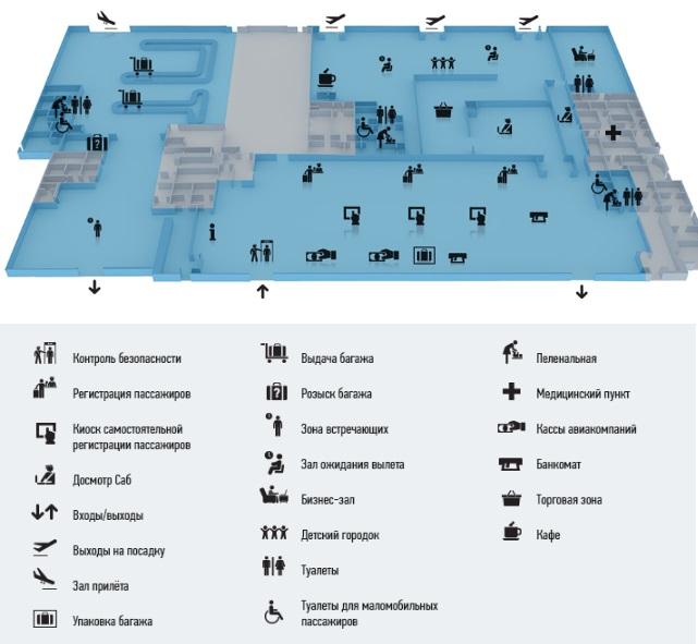 Схема терминала внутренних рейсов 1 этаж
