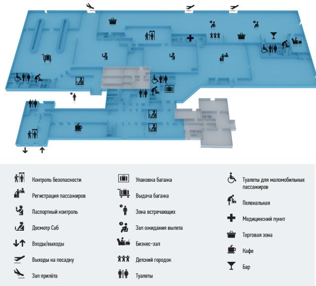 Схема терминала международных рейсов аэропорт Краснодар