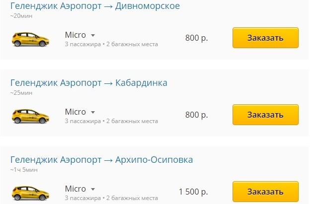 Тариф стоимости такси из аэропорта Геленджик