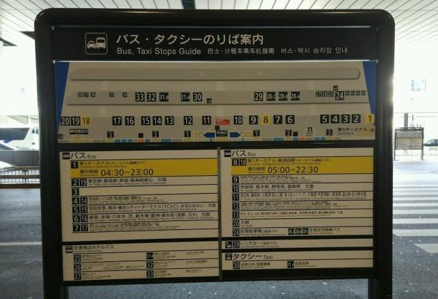 Схема остановок автобусов в аэропорту Токио