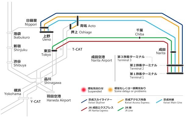Поезда от аэропорта Нарита до центра Токио
