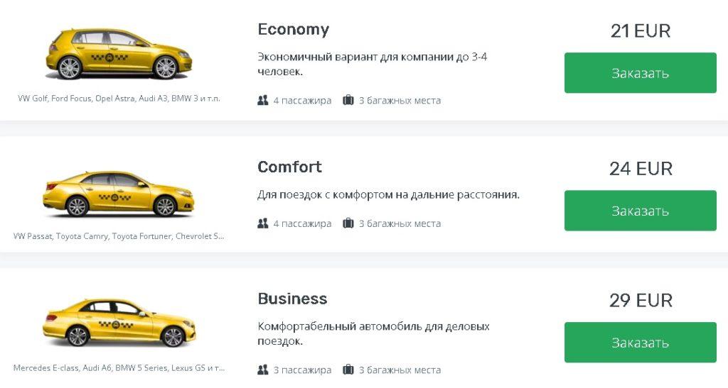 цены на такси из аэропорта Братиславы