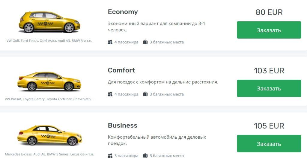 Цены на такси в аэропорту Братиславы