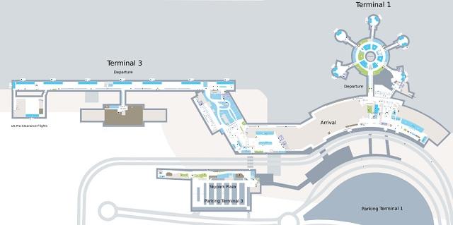 Схема терминалов аэропорта Абу-Даби
