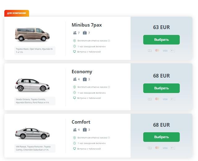 Цены на такси из аэропорта Тревизо